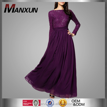 8de7444b975 Latest Lace Top Cocktail Party Deep Purple Chiffon Maxi Dress 100%  polyester Moroccan Kaftan