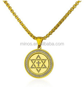 Stainless Steel Jews for Jesus Sandblast Pendant with a 24 Inch Round Box Chain