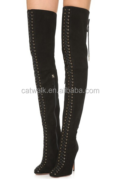 Wholesale Knee Boots Heels Winter Long Boots Women Lace Up Shoes High Heel Thigh High Boots
