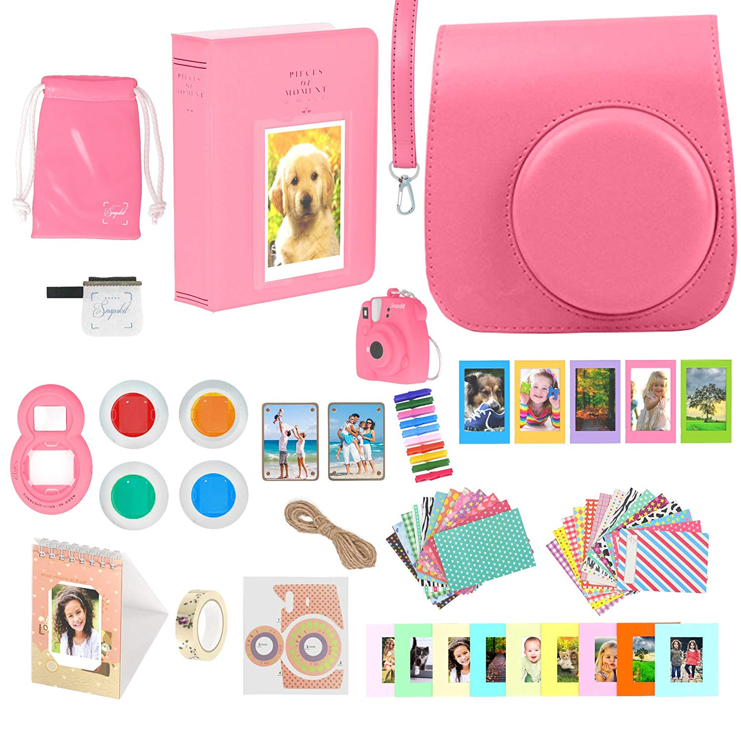 Accessories Bundle for Fujifilm Instax Mini 9 Camera - Flamingo Pink 16 Piece Kit Includes: Protective Case + Strap, 2 Photo Albums, Keychain, Hanging Frames, Selfie Lens, Magnets, Gift Box
