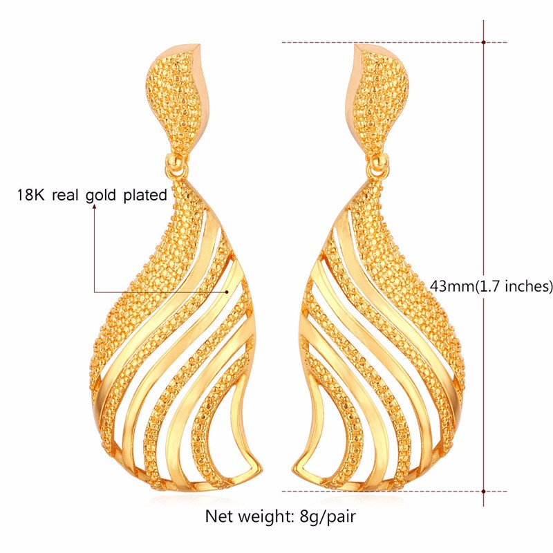 U7 Vintage Fancy Dangle Earing Women Latest Fashion Gold Earrings ...