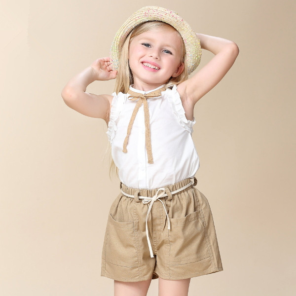 MS65188C summer fashion shirt shorts sets kid garment