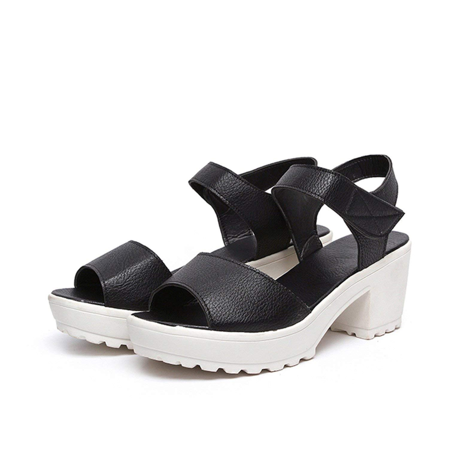 Collocation-Online Big Size 33-43 Hook&Loop Platform Women Shoes Sandals Leisure Square High Heels Woman Summer