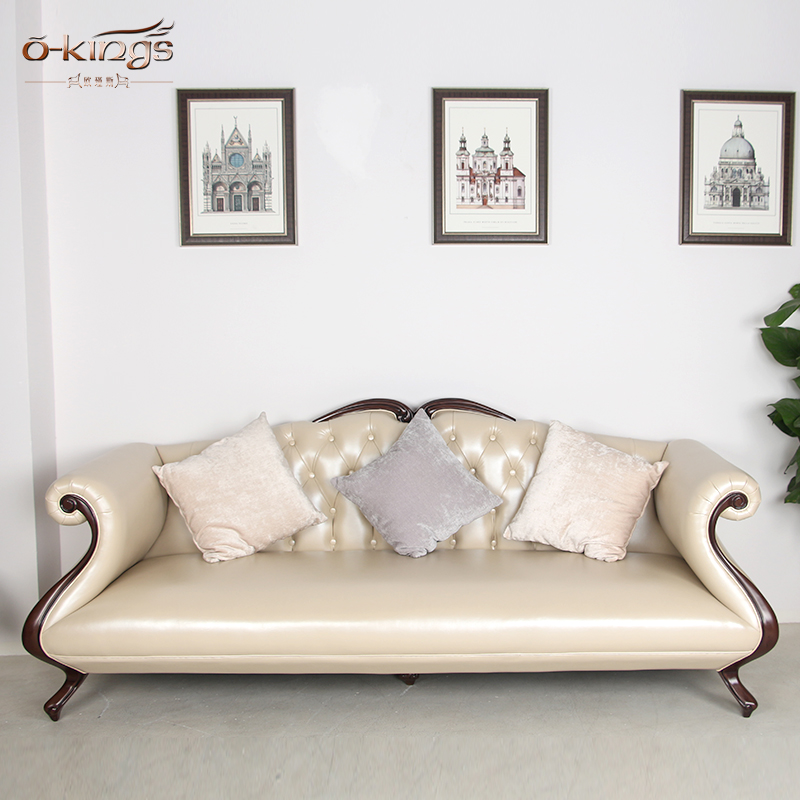 American country retro style Hotel Lobby wooden three seaters Leather Sofa