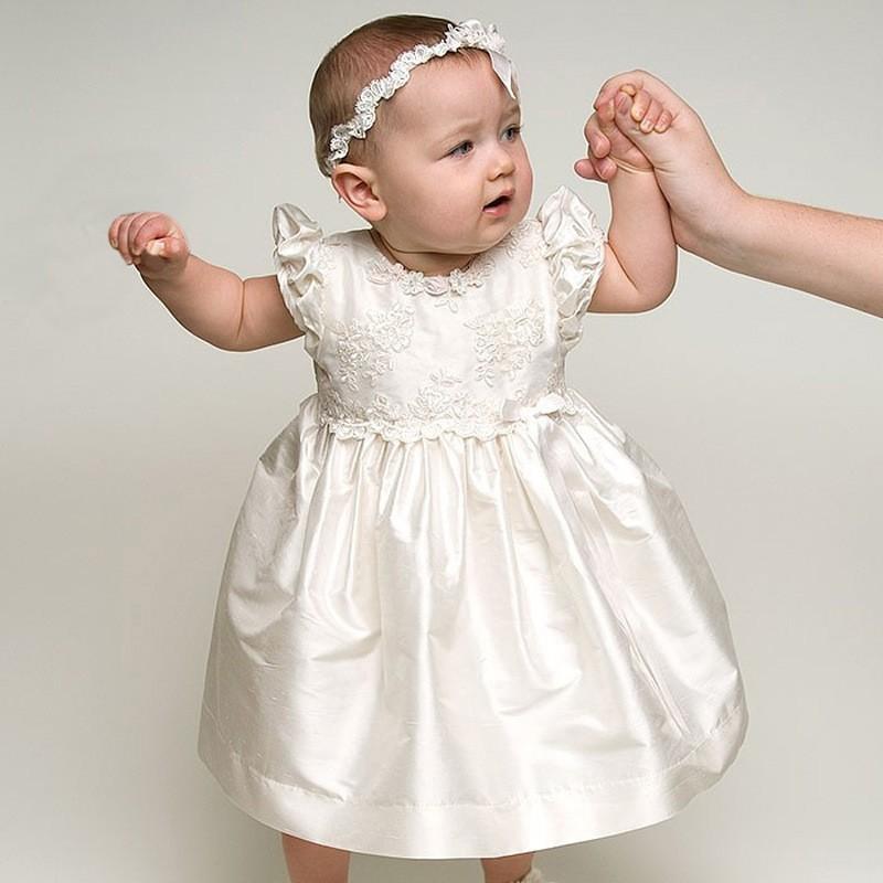 582b5651af4 Bébé Fille 2 couches manches longues Robe Nouveau-Né Robes De Baptême 1 An  Bébé