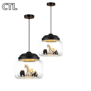 Nordic post-modern wrought iron glass chandeliers animal pendant lights chandeliers for children bedroom