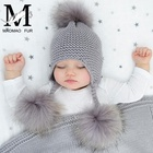 Cute Wholesale Winter Knitted Cap Earflap Hat /Child Kid Knit Real Fur Pom Pom Ball Beanie Baby Hat /Children Baby Kids Fur Hat