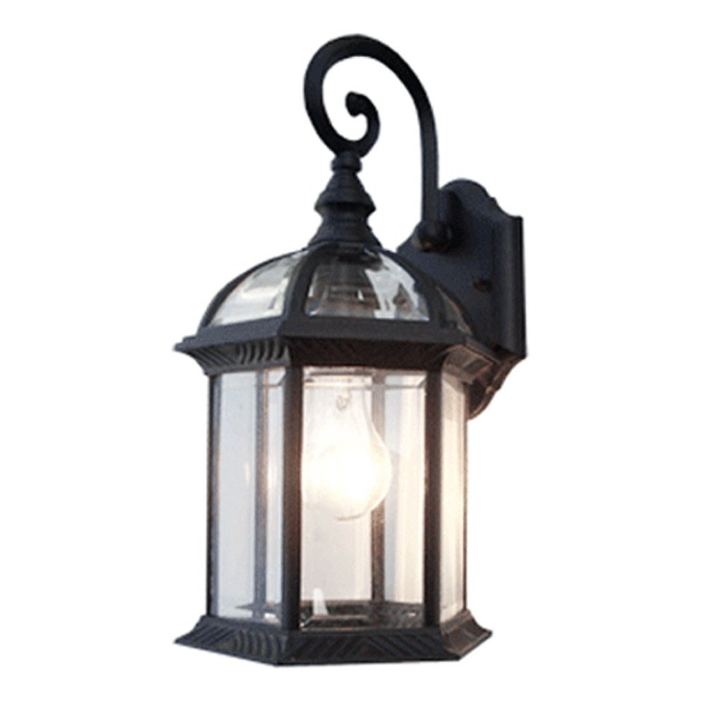 eTopLighting Contemporary Collection Exterior Outdoor Wall Lantern with Beveled Clear Glass APL1020