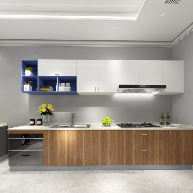 Ethiopia Small Kitchen Cabinet Design Modern I Shape Wall Cupboards Mounted Pantry Cupboard