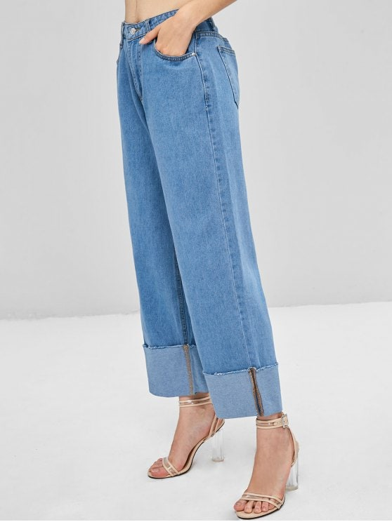 Wide leg roll up design denim womens high waisted palazzo jeans