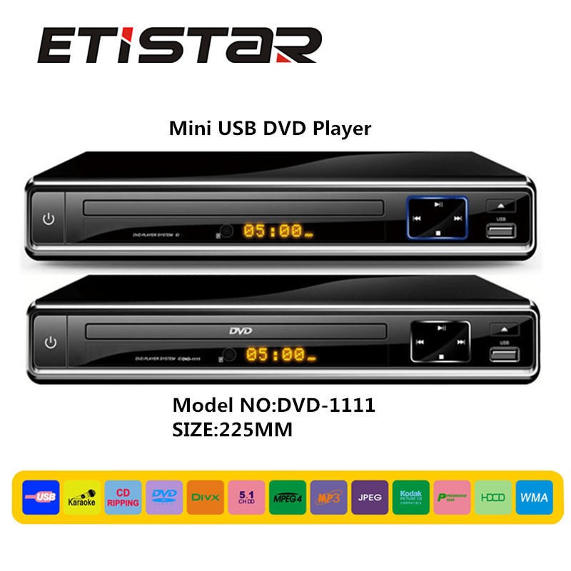 Shenzhen factory low price dvd player with usb wupport mpeg4 multi language mini usb dvd player