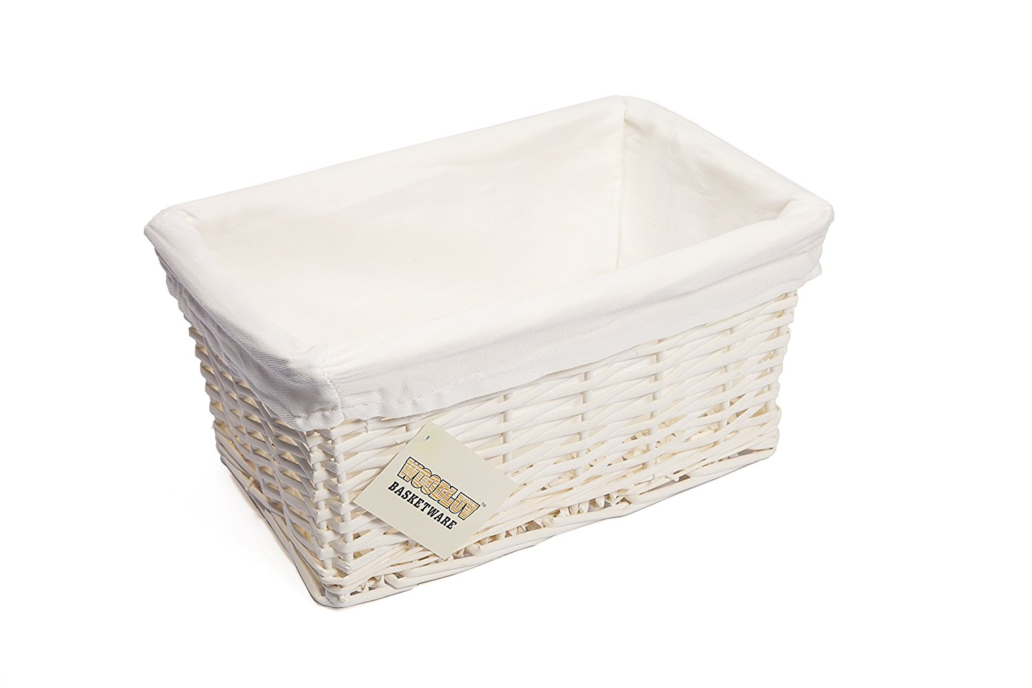 Get Quotations · WoodLuv Small Wicker Storage Basket With Lining, White By  Elitehousewares