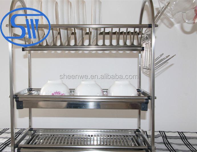 Wdj650 680 Gunagzhou Kitchen Storage Rack 3tier Stainless Steel Dish Table