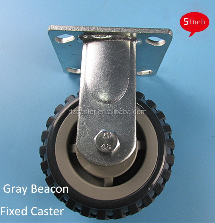 5 inch 125mm Gray PU Rigid Caster Wheel,Industrial Caster
