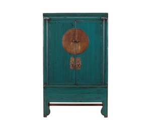 Chinese recycled vintage furniture distressed wedding cabinet in dark blue