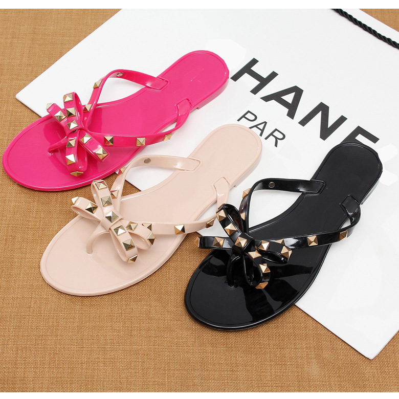 new fashion China wholesale jelly latest women flat <strong>sandals</strong> with rivet