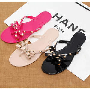 new fashion China wholesale jelly latest women flat sandals with rivet