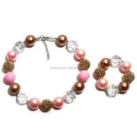 Fashion sweet childrens jewelry sets bubblegum pearl and chunky beads kids necklace & bracelets