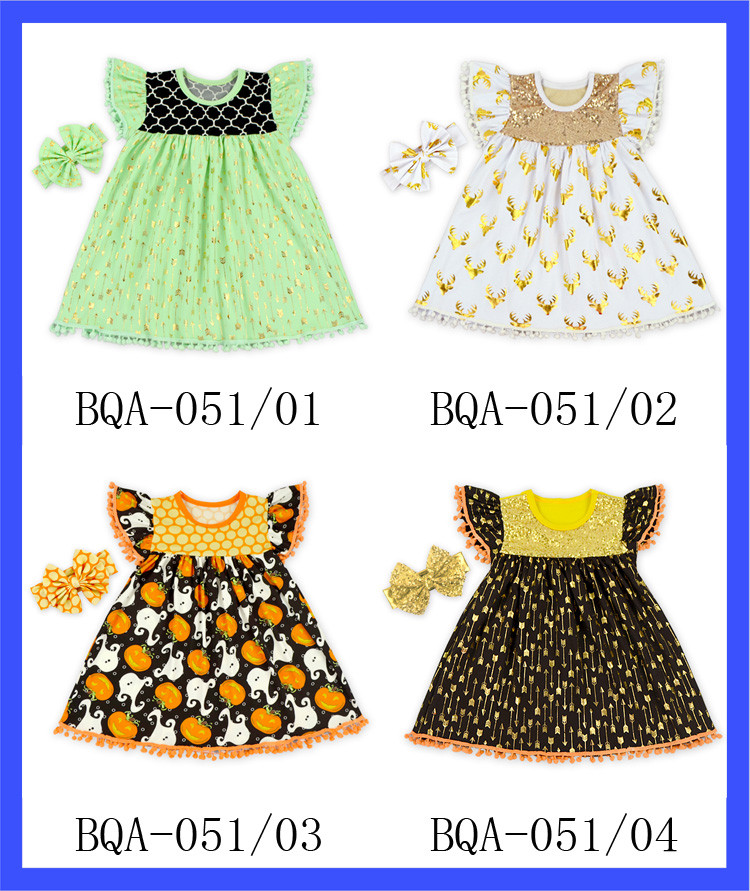 80573e7f1 Gold Arrow Print Baby Cotton Frocks Designs One Piece 0-6 Years Old Girls  Party