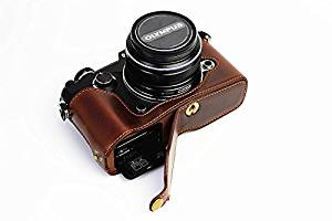 Bottom Opening Version Protective PU Leather Half Camera Case Bag Cover with Tripod Design for Olympus PEN-F Camera with PU Leather Hand Strap Dark Brown