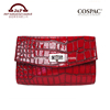 2018 Latest Portable Red Croco Pattern Evening Clutch Bag / Cosmetic Bag with Twist Lock