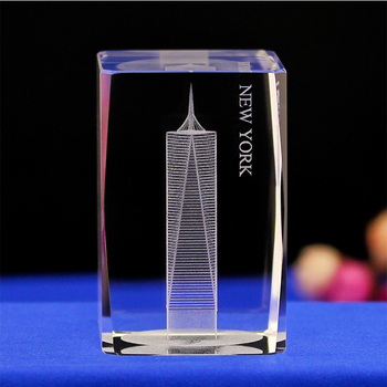 New York Free Tower architectural 3D laser engraving crystal model souvenir
