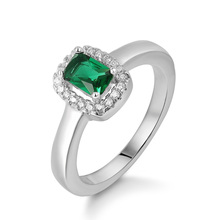 Vintage Handmade Custom Square Turkish Green Gemstone Emerald S925 Silver Diamond Wedding Rings