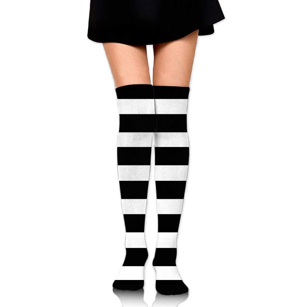 29020f7ee Get Quotations · RobotDayUpUP Black And White Stripes Stripes Full Womens  Long Socks,classic Girls Skirt Stockings Knee