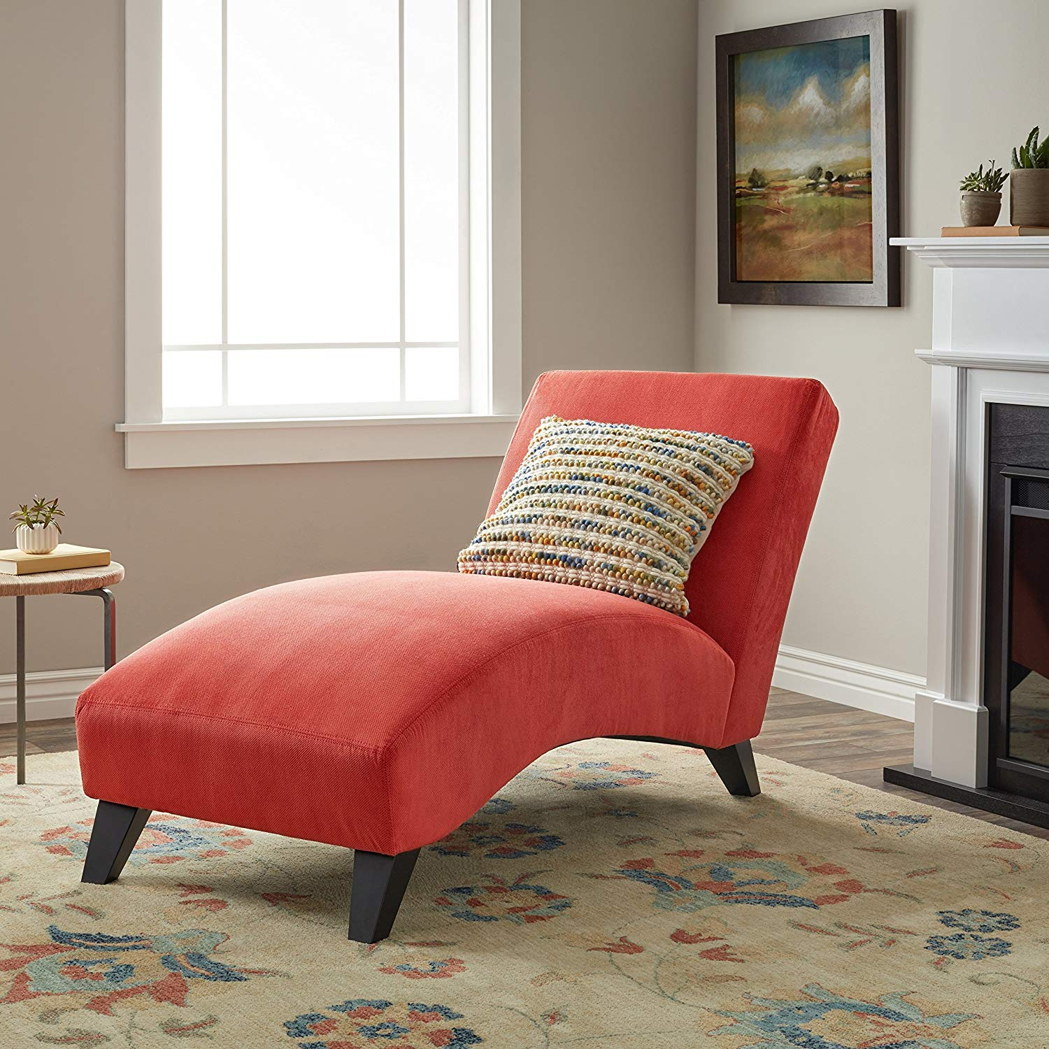 Modern Comfortable Chaise Lounge, 100-Percent Polyester Upholstery, Elegant with Sleek Lines, Foam Fill, Wood Frame, Assembly Required, Simple Design and Ergonomic Shape, Orange-Paprika Color