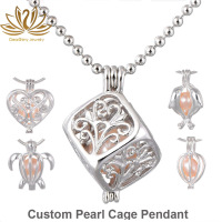 Cage Pearl Pendant Cube Locket Necklace 925 Sterling Silver Pearl Cage Pendant Custom Jewelry Manufacturer