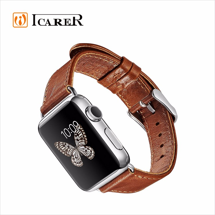 Custom Handmade Genuine Leather watch band for apple watch band 38mm 42mm
