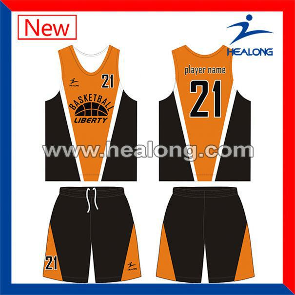 Healong Digital Printing Dry Fit Reversible Basketball Jersey Set