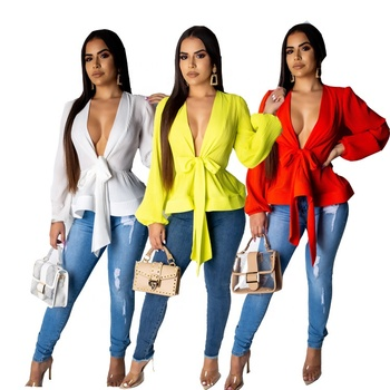 B50408A 2019 New chiffon sexy deep V-neck puffy sleeve for women