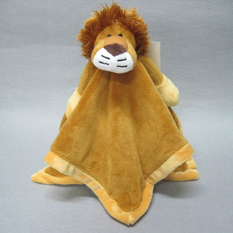 Organic Plush Baby Toy Animal Head Blanket