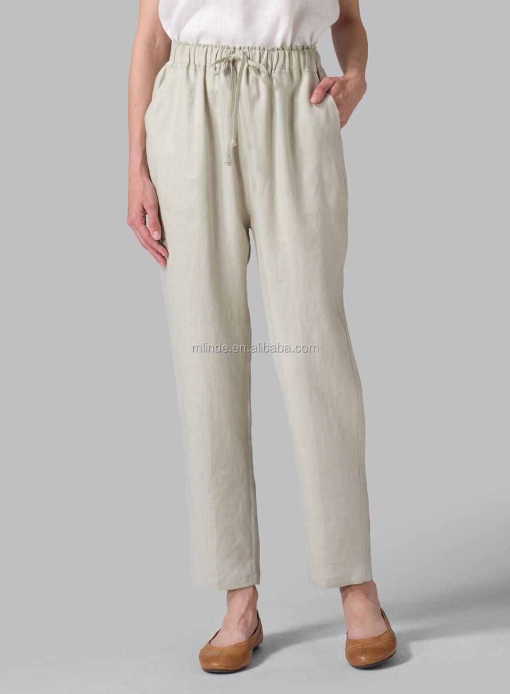 Lin Pantalon Lin Taille Élastique Ceinture Beaucoup De Couleurs