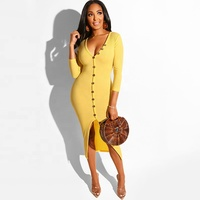 Deep v sexy bandage cotton dress 2019 new arrival autumn long sleeve fashion one piece casual dress