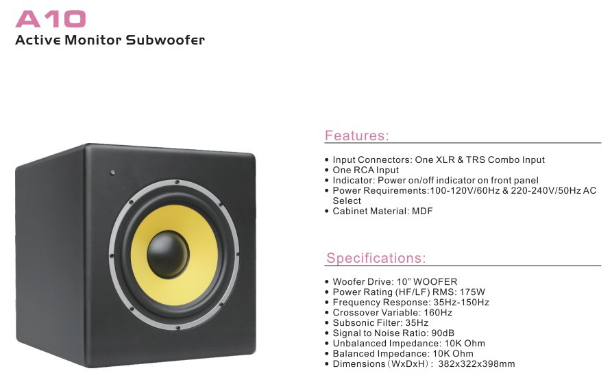 China Product with Good Portable Perfect Sound  System  OEM & ODM A10,  Active Monitor Subwoofer