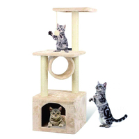 Simple Indoor Cat Scratching Scratcher Tree Tunnel With Playing Toy
