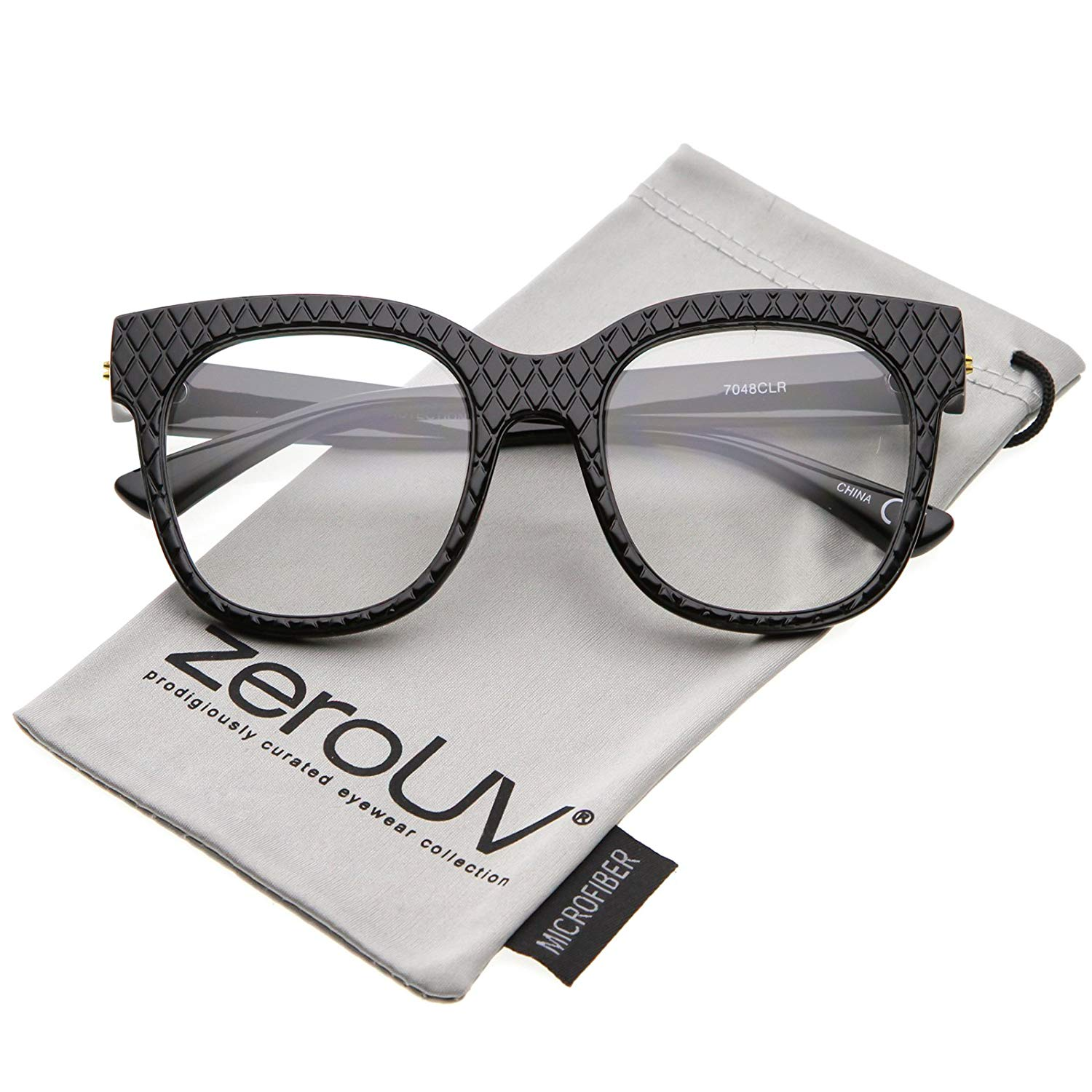 eef24c74fb0a Get Quotations · zeroUV - Women s Oversize Wide Arms Square Clear Lens Horn  Rimmed Eyeglasses 52mm