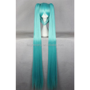 Wholesale Japanese anime voyakiloid hatsune miku long blue synthetic cosplay wig with two ponytails