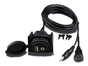 Xtenzi USB & 3.5mm AUX extension Flush Mount 2 Meter Cable, 1/8 AUX Car Bike Boat Motercycle Lead