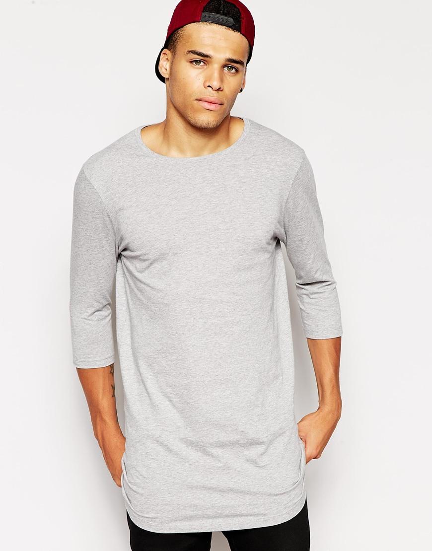 2015 New Design Grey Color T Shirt 3 4 Sleeves Summer Long