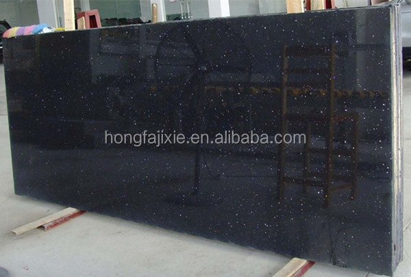 LIANFENG Tiles Slabs Quartz Countertops Sparkle Black Artifical Quartz Stone