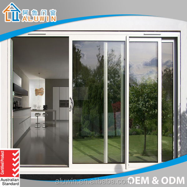 Power Coated Aluminum Two Track Sliding Door Make In China