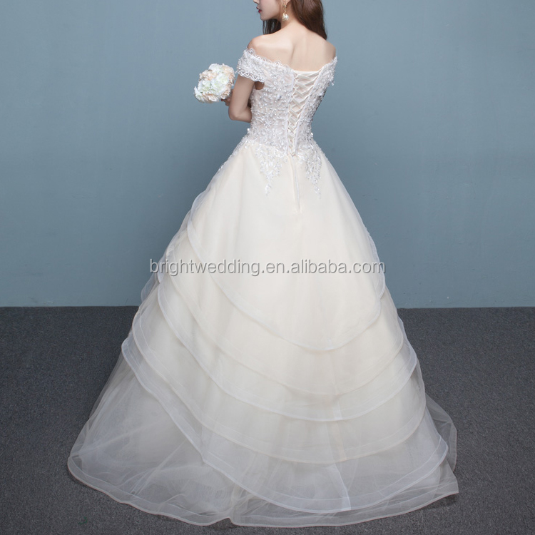 Syrian Affordable Tiered Organza Skirt Beach Wedding Dresses In