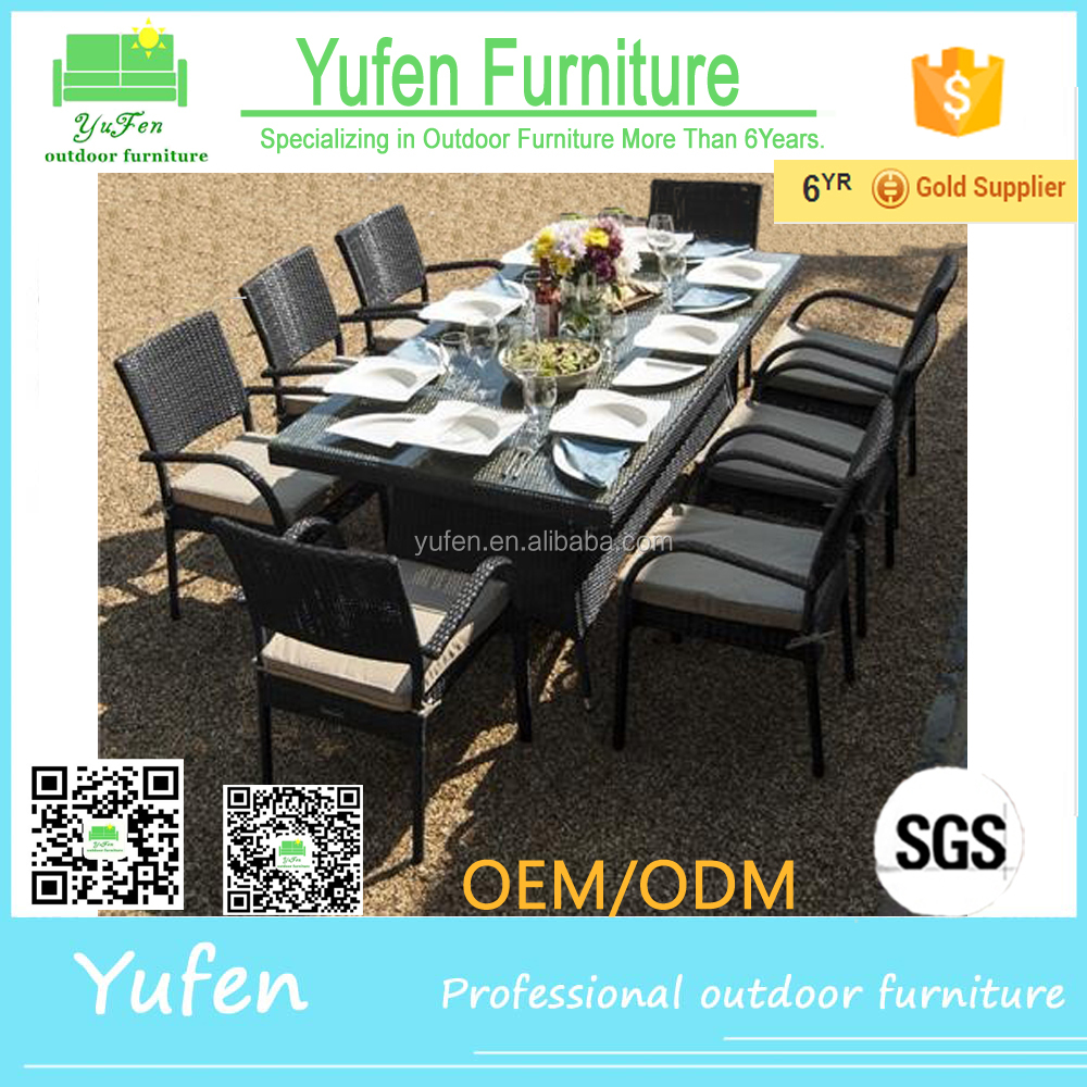 Garden furniture 8 seats glass dining table set