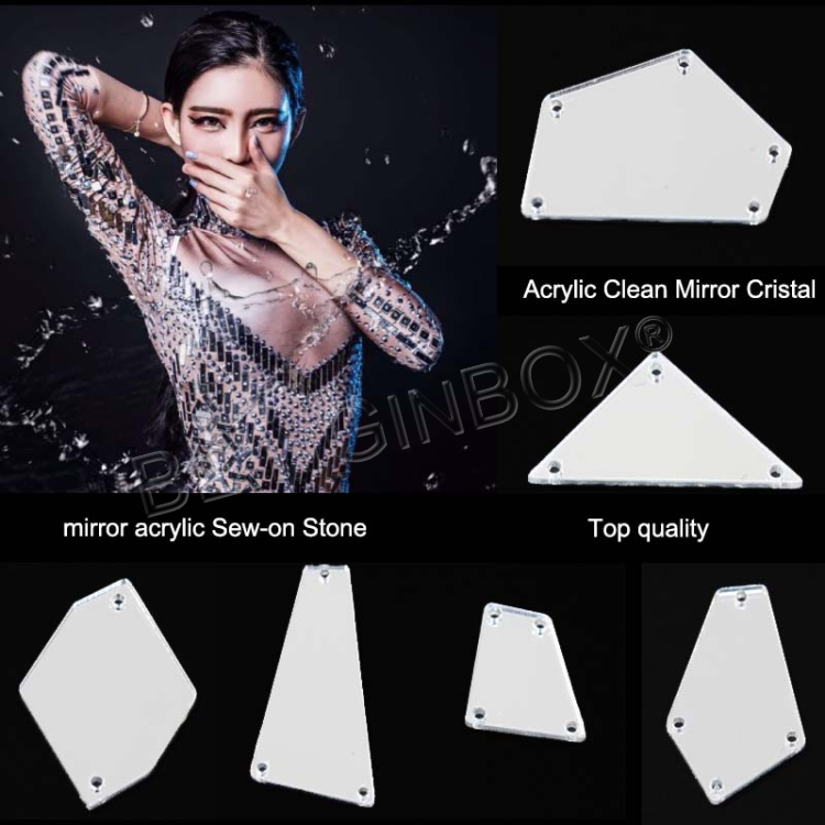 Top quality sew on acrylic rhinestone acryl strass mirror flat back rhinestones with holes for dresses