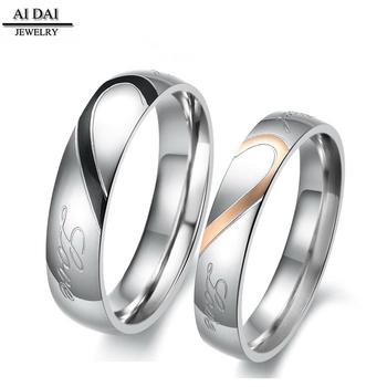 22f4fadcc7fa Сердце любовь соответствующие титана Нержавеющая сталь Мужские Женские пара  обещание обручальные кольца
