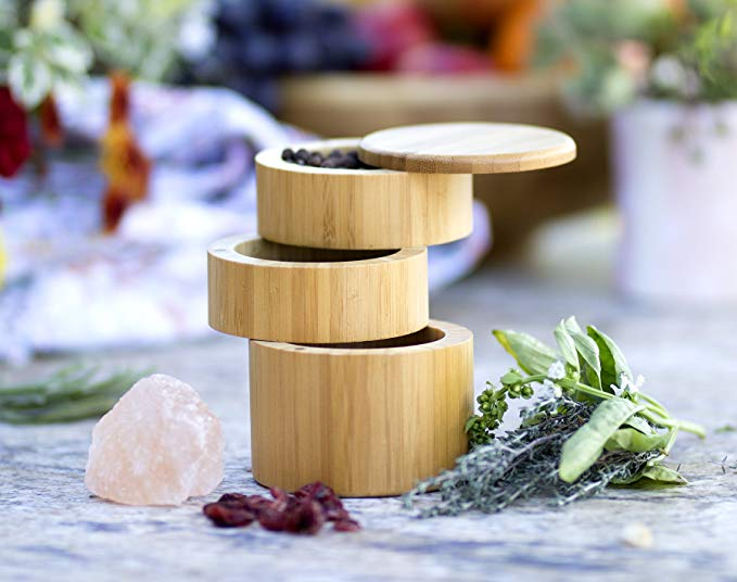 Kitchen Wood Bamboo Spice Box With Magnetic Swivel Lids 5