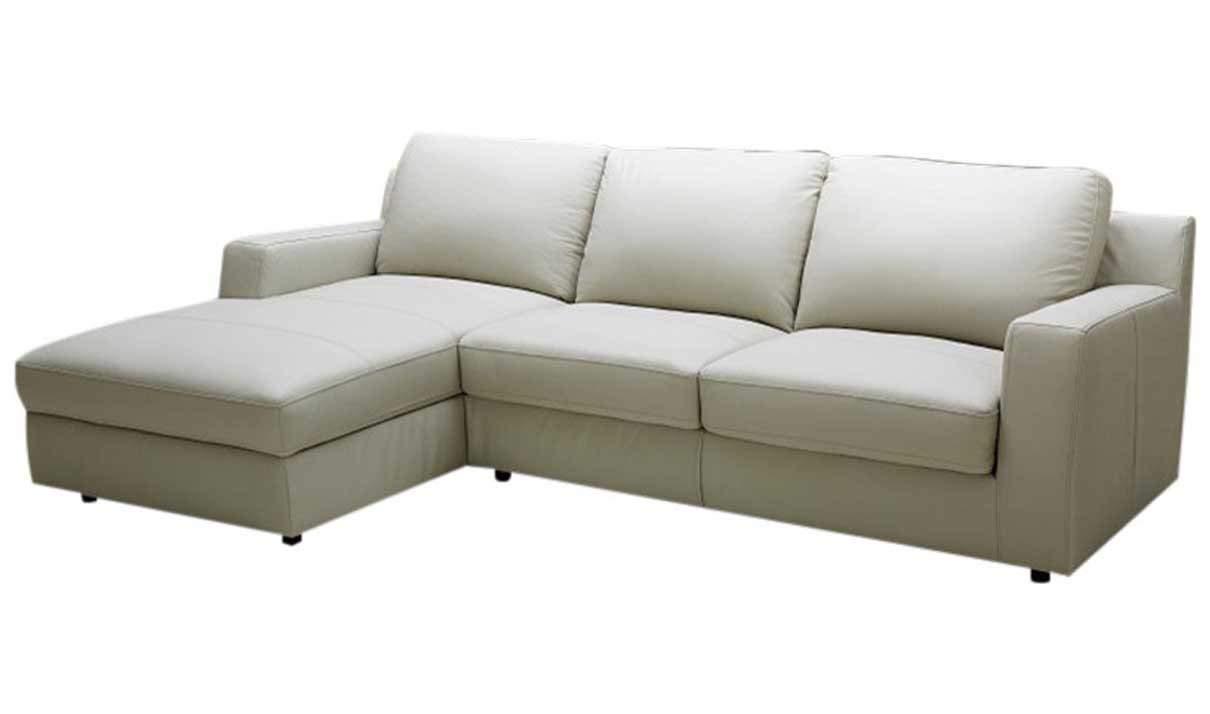 J&M Furniture Lauren Leather Left Facing Sectional Sofa in Cream